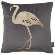 Embroidery Flamingo On Grey Cushion 45cm (SC-FLAMINGO-GREY)