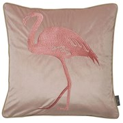 Embroidery Flamingon On Pink Cushion 45cm (SC-FLAMINGO-PINK)