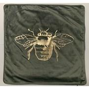 Gold Foil Lge Bee On Grey Velvet Cushion 43cm (SC-HONEY)
