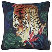 Printed Tiger In Jung Velvet Cushion 45cm (SC-PROWLING)