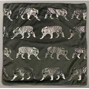 Silver/black Mini Tigers Cushion 45cm (SC-TIGER-TRAIL)