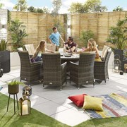 Sienna 10 Seat Dining Set - 1.8m Round Table - Brown