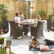 Sienna 4 Seat Dining Set - 1.05m Round Table - Brown