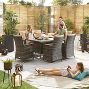 Sienna 6 Seat Dining Set - 1.5m x 1m Rectangular Table - Brown