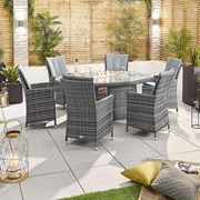 Sienna 6 Seat Dining Set with Fire Pit - 1.8m x 1.2m Oval Table - Grey