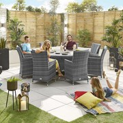 Sienna 8 Seat Dining Set - 1.8m Round Table - Grey
