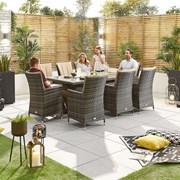 Sienna 8 Seat Dining Set - 2m x 1m Rectangular Table - Brown