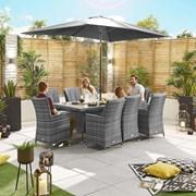 Sienna 8 Seat Dining Set - 2m x 1m Rectangular Table - Grey