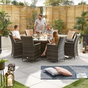 Sienna 8 Seat Dining Set with Fire Pit - 1.8m Round Table - Brown