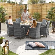 Sienna 8 Seat Dining Set with Fire Pit - 1.8m Round Table - Grey