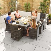 Sienna 8 Seat Dining Set with Fire Pit - 2m x 1m Rectangular Table - Brown