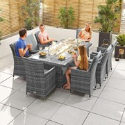 Sienna 8 Seat Dining Set with Fire Pit - 2m x 1m Rectangular Table - Grey