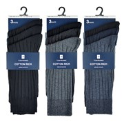 Mens 3pk Ribbed Socks Asst (SK055)