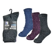 rjm Ladies 3pk Cotton Rich Boot Socks Size4-7 (SK572)