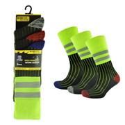 rjm Mens 3 Pack High Viz Work Socks (SK638)
