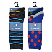 rjm Mens 3pk Cotton Design Socks Asst (SK644)