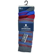 rjm Mens 3pk Light Elasticated Top Design Socks Asst (SK646)