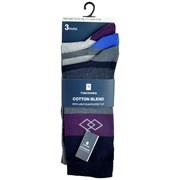 rjm Mens 3pk Light Elasticated Top Design Socks Asst (SK647)