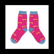 Miss Sparrow Sausage Dog Socks Hot Pink (SKS230HOTPINK)