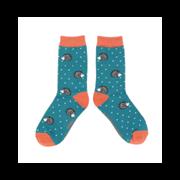Miss Sparrow Sleepy Hedgehog Socks Teal (SKS236TEAL)