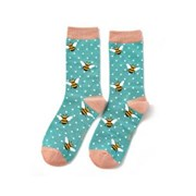Miss Sparrow Bumble Bees Socks Turquoise (SKS238TURQUOISE)
