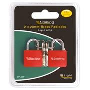 Sterling Locks 2pk Brass Padlocks 20mm (BPL22P)