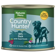 Natures Menu Country Hunter Dog Food Cans Succulent Duck 600g (NMCDP)