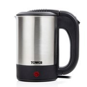 Tower 650w Stainless Steel Travel Kettle with Two Mugs 0.5ltr (T10026)