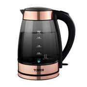 Tower Rose Gold 3kw Smoked Glass Jug Kettle 1.7l (T10058RG)