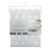 Geo Design Wipe Clean Tablecloth Grey 178cm (TAB200182)
