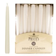 """Prices 10"""" White Tapered Dinner Candle 50s (TDC005028)"""