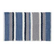 Catherine Lansfield Textured Stripe Bath Mat Blue (BR/43090/W/BMAT/BL)