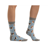 Miss Sparrow Beagle Pups Socks Powder Blue (SKS220POWDERBLUE)