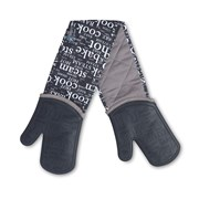 Zeal Oven Glove Hot Print Silicone Black Double (V118N)