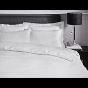 Satin Stripe Duvet Set White Single (SS SQS/WH 36570)