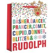 Reindeer Names Wide Gusset Gift Bag X/lge (X-25854-1W)