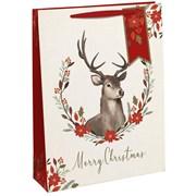 Merry Xmas Stag Gift Bag P/fume (X-27351-9C)