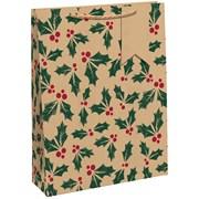Kraft Holly Gift Bag Bottle (X-29193-4CC)