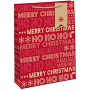 Kraft Xmas Text  Gift Bag X/lge (X-29199-1WCC)