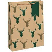 Kraft Stag Heads  Gift Bag Large (X-29202-2CC)
