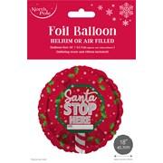 """Santa Stop Foil Balloon 18"""" (X-29760-BCC)"""