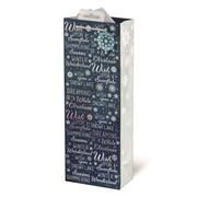 Giftmaker Navy Christmas Text Gift Bag Bottle (XAKGB04B)