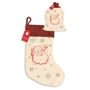 Canvas/glitter Santa Stocking (XAKGZ313)