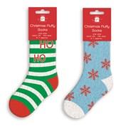 Adult Xmas Fluffy Socks Asstd (XAKGZ403)