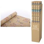 Giftmaker Kraft Xmas Text Roll Wrap 3mt (XECO123B)