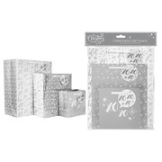 Christmas Gift Bags Pack Silver Foil 3s (XM6106)