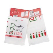 3pk Naughty Or Nice Tea Towels (XMA201844)