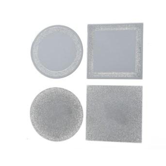 Glass Mirror Plate With Glitter Asstd (645978)