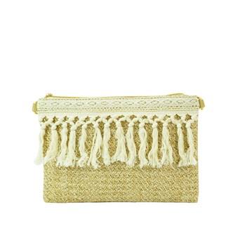 Raffia Clutch Bag / Lace Trim (73627)