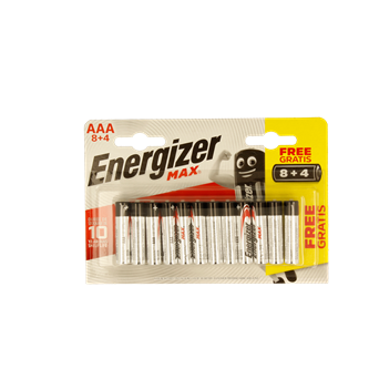 Energizer Max Aaa Batteries 8+4 (ENERLR03B8-4MAX)